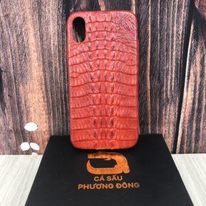 Ốp Lưng Cá Sấu IPHONE X ( Nâu Đỏ)