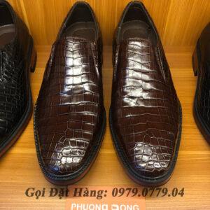 Giày Da Cá Sấu Da Bụng (Màu Nâu)