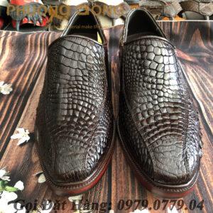 Giày Tây Cá Sấu Da Chân (Màu Nâu)