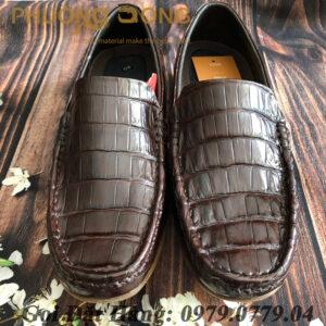 Giày Lười Da Cá Sấu Bụng (Nâu)