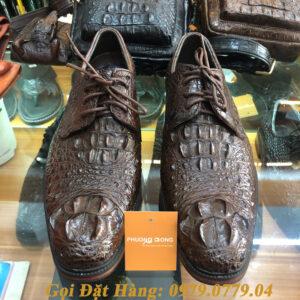 Giày Tây Cá Sấu Gù Nâu (Buộc Dây)