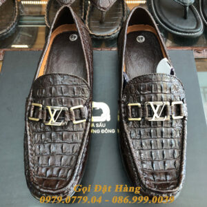 Giày Lười Gai Lưng Da Cá Sấu (LV) (Nâu Đất)