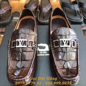 Giày Lười Gai Đuôi Da Cá Sấu (LV) (Nâu Đất)