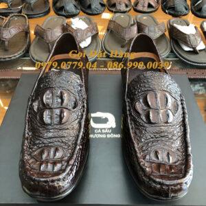 Giày Lười Gai Gù Da Cá Sấu (Nâu Đất)(Size: 42)