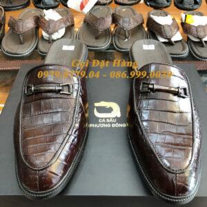 Giày Lười SaBo Da Cá Sấu (Nâu Đất)(Size: 42)