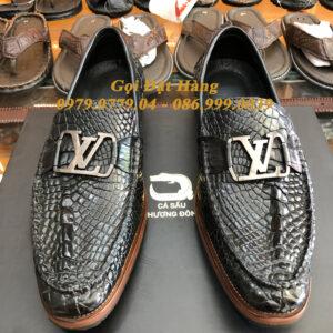 Giày Lười Da Chân Cá Sấu (LV) (Đen)(Size: 40)