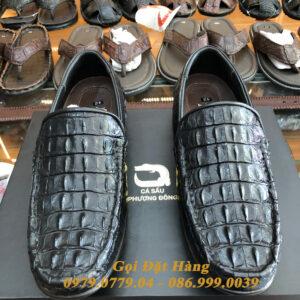 Giày Lười Gai Lưng Da Cá Sấu (Đen)(Size: 42)