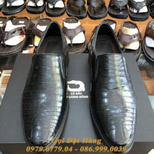 Giày Da Cá Sấu Da Bụng (Màu Đen)